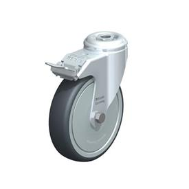 LKRA-TPA Steel Light Duty Swivel Casters, with Thermoplastic Rubber Wheels and Bolt Hole Fitting, Heavy Bracket Series  Type: K-FI-FK - Ball Bearing with Stop-Fix Brake, with Thread Guard