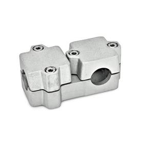 GN 194 Aluminum, Multi-Part Assembly, T-Angle Connector Clamps Bore d<sub>1</sub>: B 40<br />Finish: BL - Plain, tumbled finish<br />Identification No.: 2 - with 4 Stainless Steel-clamping screws DIN 912