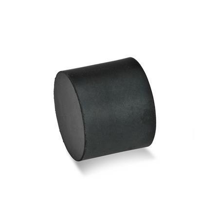 GN 452 Soportes de absorción de vibración / impacto de caucho, tipo cilíndrico, con componentes de acero inoxidable Tipo: E - Con agujero roscado