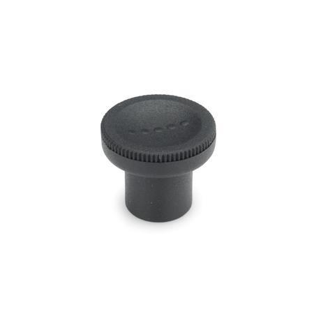 EN 676 Perillas moleteadas de plástico tecnopolímero, Ergostyle®, con inserto roscado Color: SG - Gris-negro, RAL 7021, acabado mate