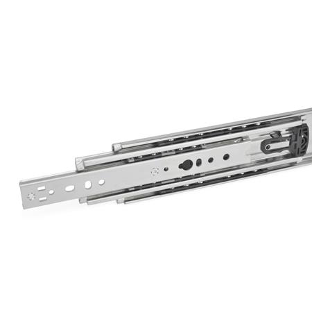 GN 1440 Steel Telescopic Slides, with Full Extension, Load Capacity up to 731 lbf Type: B - With rubber stop