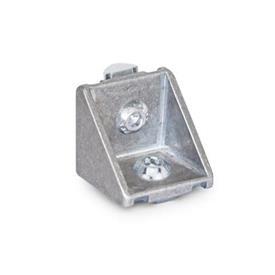GN 961 Escuadras de aluminio, para sistemas de perfiles de aluminio de 30/40 mm Tipo de pieza angular: C - con juego de montaje<br />Acabado: MT - Acabado pulido mate