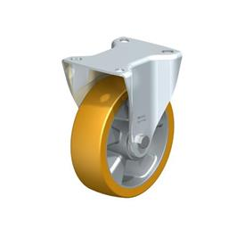 B-ALTH Steel Medium Duty Extrathane® Tread Fixed Casters, with Plate Mounting Type: K - Ball Bearing