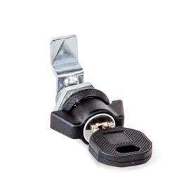 GN 115.1 Loquets à came miniatures / verrous à came miniatures en zinc moulé sous pression, collier de boîtier fini poudré noir Type: SCK - Avec bouton à ailettes (clés communes)<br />Finition (collier de boîtier): SW - Noir, RAL 9005, finition texturée