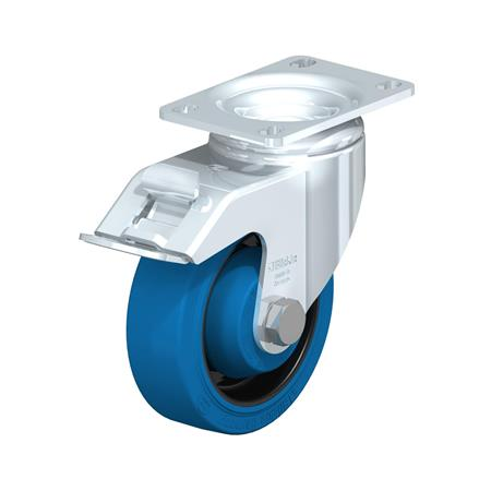 L-POEV Steel Medium Duty Rubber Wheel Swivel Casters, with Plate Mounting Type: K-FI-SB-FK - Ball Bearing with Stop-Fix Brake, with Blue Wheel, with Thread Guard