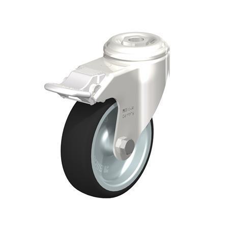 LKRXA-PATH Roulettes pivotantes en inox, avec support de trou de boulon, série de support à usage intensif Type: G-FI - Palier lisse avec frein stop-fix