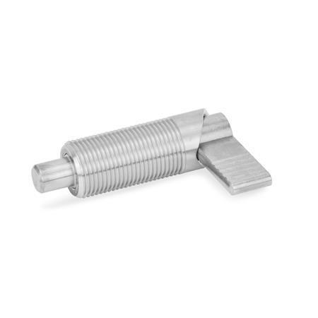 GN 612 Posicionadores de indexado por palanca de acero inoxidable, con bloqueo Tipo: A - Sin funda de plástico, sin contratuerca Material: NI - Acero inoxidable