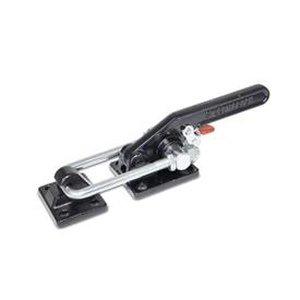 GN 852.3 Steel Heavy Duty Latch Type Toggle Clamps, with Safety Hook Type: T6 - With mounting holes, with U-bolt latch, with catch