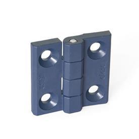 EN 237.1 Bisagras de plástico que cumplen con la FDA, detectables, con orificios avellanados Tipo: A - 2x2 orificios para tornillos avellanados<br />Material / acabado: MDB - Detectable en detector de metal