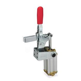 GN 862.1 Steel Pneumatic Toggle Clamps, with Vertical Mounting Base, with Additional Manual Operation Type: APV3S - U-bar version, with two flanged washers
