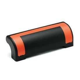 EN 630.2 Jaladeras de seguridad de protección de plástico tecnopolímero, Ergostyle®, con agujeros pasantes avellanados Color de la cubierta: DOR - Naranja, RAL 2004, acabado brillante
