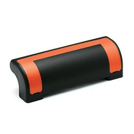 EN 630.2 Technopolymer Plastic Guard Safety Handles, Ergostyle®, with Counterbored Through Holes Color of the cover: DOR - Orange, RAL 2004, shiny finish