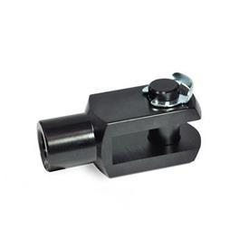 GN 751 Articulación de horquilla de aluminio, con seguro de retención del eje Material: AL - Aluminio<br />Tipo: KL - Pasador con anillo de montaje lateral