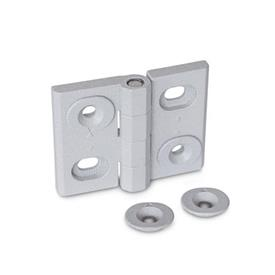 GN 127 Zinc Die-Cast Hinges, Adjustable, with Alignment Bushings Type: B - Horizontal slots<br />Color: SR - Silver, RAL 9006, textured finish
