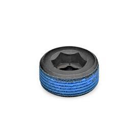 GN 252 Bouchons filetés acier Type: PRB - Avec revêtement de filetage (revêtement tout autour en polyamide)