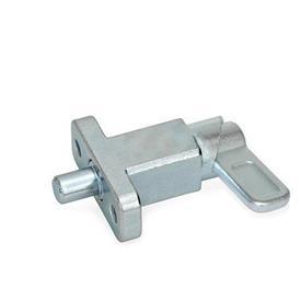 GN 722.2 Pestillos de muelle cuadrados de acero, con bloqueo, con brida de fijación, en ángulo recto con el pasador de cerrojo Tipo: B - Posición del pestillo en paralelo con los agujeros de fijación<br />Acabado: ZB - zincado, acabado pasivado azul