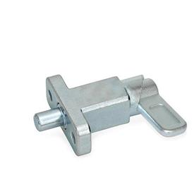 GN 722.2 Steel Square Cam Action Spring Latches, Lock-Out, with Mounting Flange, Right-Angled to the Latch Pin Type: B - Latch position parallel to mounting holes<br />Finish: ZB - Zinc plated, blue passivated finish