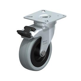 LPA-VPA Steel Light Duty Gray Rubber Wheel Swivel Casters, with Plate Mounting, Standard Bracket Series Type: G-FI - Plain Bearing with Stop-Fix Brake