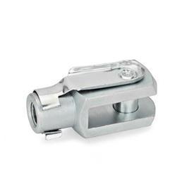 GN 751 Articulación de horquilla de acero, con anillo de seguridad o collarín de aseguramiento a presión Material: ST - Acero<br />Tipo: B - Pasador de muelle a presión