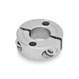 GN 7072.2 Stainless Steel Split Shaft Collars, with Mounting Holes Type: A - With two plain holes