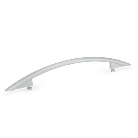 GN 665 Aluminum Arched Pull Handles, with Tapped Holes Finish: SR - Silver, RAL 9006, textured finish