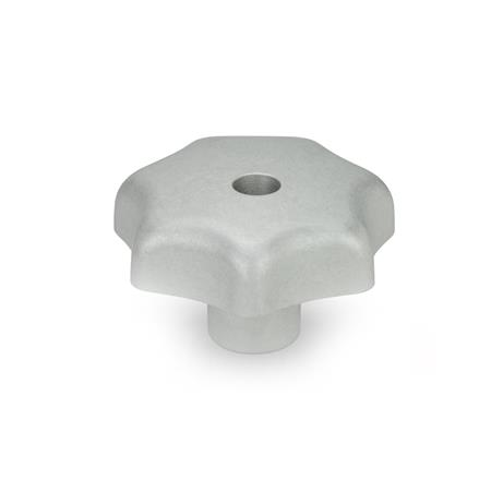 DIN 6336 Aluminum Star Knobs, with Tapped or Plain Bore Type: D - With tapped through bore Finish: MT - Matte, tumbled finish