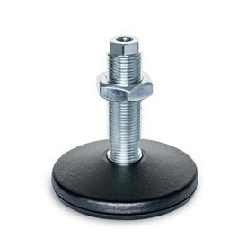 GN 37 Pies de máquina de acero, tipo espárrago roscado, con agujero de montaje Tipo (Placa base): B - Con almohadilla de caucho