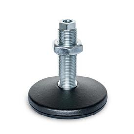 GN 37 Steel Machine Feet, Threaded Stud Type, with Mounting Hole Type (Base plate): B - With rubber pad
