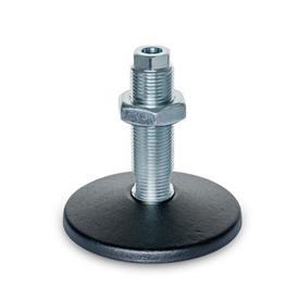 GN 37 Pieds de machine en acier, type de goujon fileté, avec trou de montage Type (Plaque de base): C - Avec joint torique