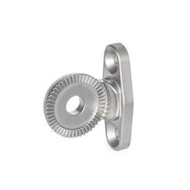 GN 187.5 Placas de bloqueo dentadas de acero inoxidable, tipo birlo / brida / placa Tipo: DH - Brida de sujeción, horizontal