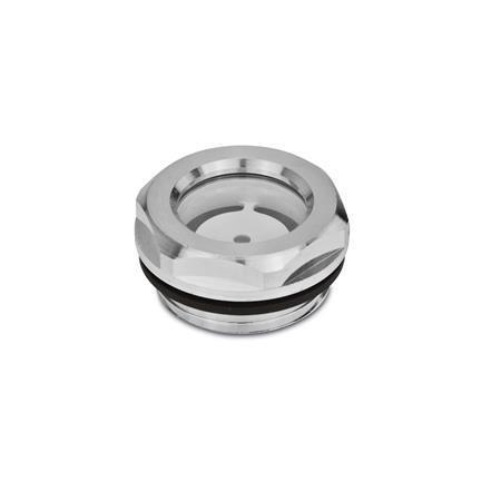 GN 743.1 Mirillas de líquido, de aluminio, con vidrio de seguridad ESG, resistente hasta 356 °F Tipo: A - Con reflector, acabado liso