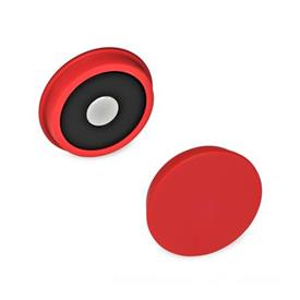 GN 53.1 Plastic Retaining Magnets, Disk-Shaped Color: RT - Red, RAL 3031