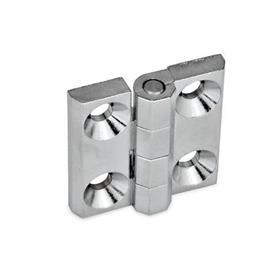 GN 237 Bisagras de zinc fundido a presión o aluminio, con orificios avellanados o espárragos roscados Material: ZD - Zinc fundido a presión<br />Tipo: A - 2x2 orificios para tornillos avellanados<br />Acabado: CR - Acabado cromado