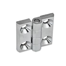 GN 237 Zinc Die-Cast or Aluminum Hinges, with Countersunk Bores or Threaded Studs Material: ZD - Zinc die-cast<br />Type: A - 2x2 bores for countersunk screws<br />Finish: CR - Chrome plated finish