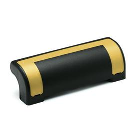 EN 630.2 Technopolymer Plastic Guard Safety Handles, Ergostyle®, with Counterbored Through Holes Color of the cover: DGB - Yellow, RAL 1021, shiny finish
