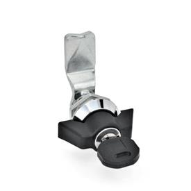 GN 115 Zinc Die-Cast Cam Locks, Chrome Plated Locating Ring, with Operating Elements Material: ZD - Zinc die-cast<br />Type: SCK - Operation with wing knob (Keyed alike)