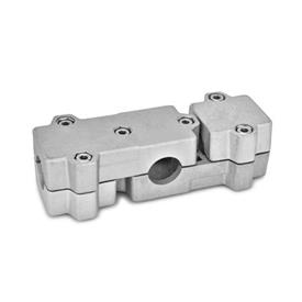 GN 195 Aluminum, Multi-Part Assembly, T-Angle Connector Clamps Bore d<sub>1</sub>: B 40<br />Identification No.: 2 - with 6 Stainless Steel-clamping screws DIN 912<br />Finish: BL - Plain, tumbled finish