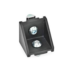 GN 961 Aluminium, équerres, pour systèmes de profilés en aluminium 30/40mm Type de pièce d'angle: C - Avec jeu de montage<br />Finition: SW - Noir, RAL 9005, finition texturée