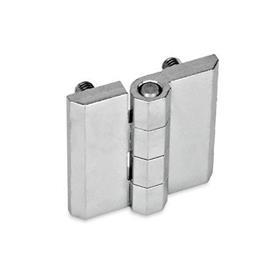 GN 237 Bisagras de zinc fundido a presión o aluminio, con orificios avellanados o espárragos roscados Material: ZD - Zinc fundido a presión<br />Tipo: C - 2x2 espárragos roscados<br />Acabado: CR - Acabado cromado
