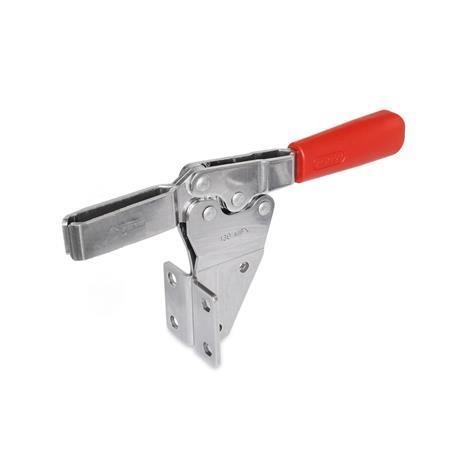 GN 820.2 Abrazaderas de palanca de actuación horizontal, de acero inoxidable, con base de montaje vertical Material: NI - Acero inoxidable Tipo: MF - Versión de barra en U, con dos arandelas bridadas