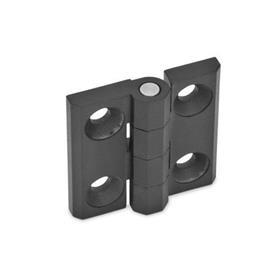 GN 237 Bisagras de zinc fundido a presión o aluminio, con orificios avellanados o espárragos roscados Material: ZD - Zinc fundido a presión<br />Tipo: A - 2x2 orificios para tornillos avellanados<br />Acabado: SW - Negro, RAL 9005, acabado texturizado