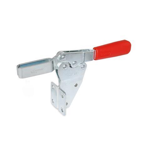 GN 820.2 Abrazaderas de palanca de actuación horizontal, de acero, con base de montaje vertical Tipo: MF - Versión de barra en U, con dos arandelas bridadas