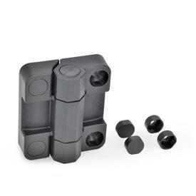 EN 239.7 Charnières plastique avec contacteur de sécurité, compatibles avec charnières EN239.6 à contacteur de sécurité Test<sub>1</sub>: 70