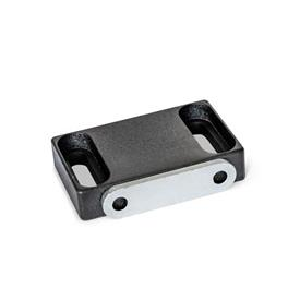 GN 4470 Zinc Die-Cast Magnetic Catches, with Rubberized Magnetic Surface Type: C2 - Magnetic surface side, with slotted hole<br />Identification: F - With strike plate, with countersunk hole<br />Finish: SW - Black, RAL 9005, textured finish