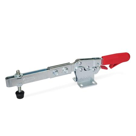 GN 820.3 Clamps de actuación horizontal con brazo extendido de acero, con gancho de seguridad, con base de montaje horizontal Tipo: ULC - Brazo de fijación extendido, con agujero ranurado, con dos arandelas con brida y un conjunto de husillos GN 708.1