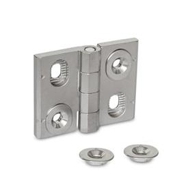 GN 127 Stainless Steel Hinges, Adjustable, with Alignment Bushings Material: A4 - Stainless steel <br />Type: H - Vertical slots