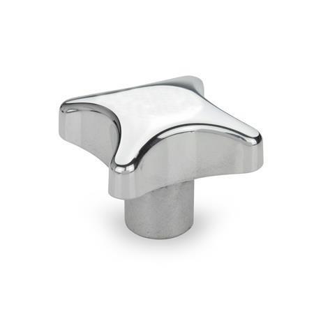 DIN 6335 Perillas manuales de aluminio, con orificio roscado o liso Tipo: E - Con orificio ciego roscado Acabado: PL - Acabado pulido
