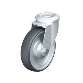 LER-TPA Steel Light Duty Swivel Casters, With Bolt Hole Fitting, Thermoplastic Rubber Wheels Type: K - Ball Bearing