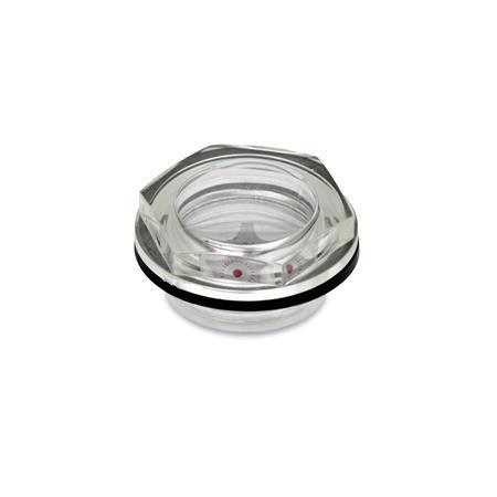 EN 541 Indicateurs de niveau de fluide en plastique, avec ou sans réflecteur Type: A - Avec réflecteur