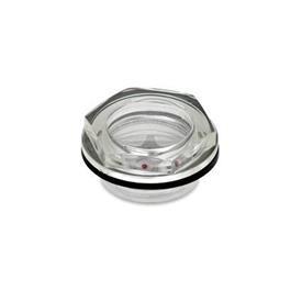 EN 541 Mirillas de líquido, de plástico cristal transparente Tipo: A - Con reflector